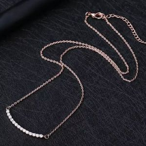 Delicate Rose Gold Curved Bar Necklace